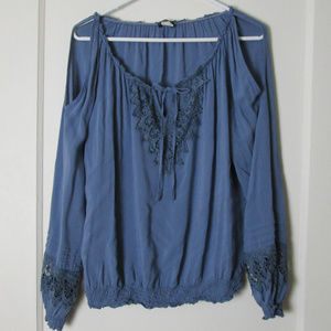 Venus dark blue cold shoulder boho lace blouse tie